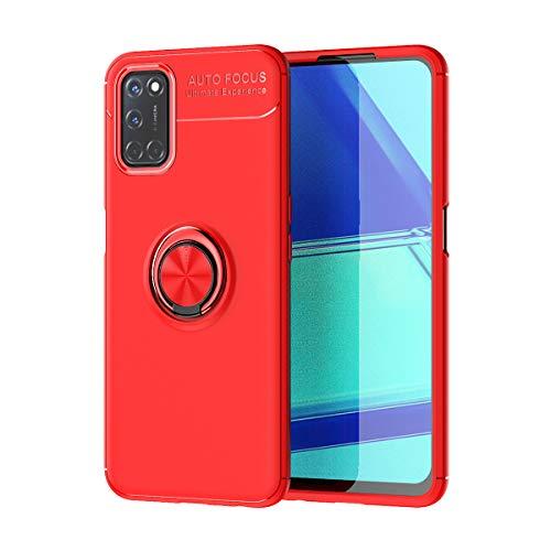 zl one Compatible con/reemplazo para funda de teléfono Oppo A52, A72 y A92, carcasa trasera de metal TPU ultrafina, cubierta roja, anillo rojo