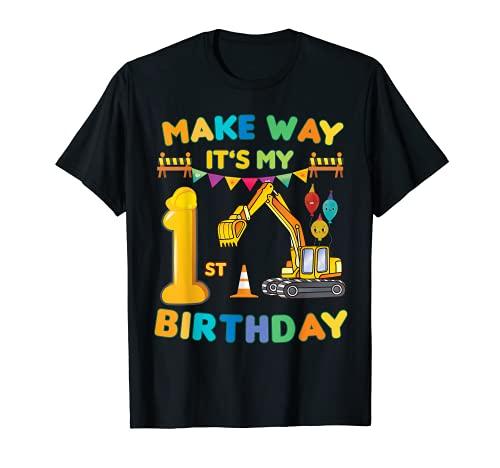 Make way it's my 1er cumpleaños construcción excavadora fiesta Camiseta