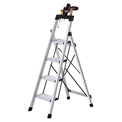LRZLZY 4-Stufenleiter, Folding Aluminium Küche Trittschemel, Heavy Duty Mehrzwecktrittleiter, Anti-Rutsch-und Werkzeugkasten, Haushalt Platform - 330lbs Max Kapazität