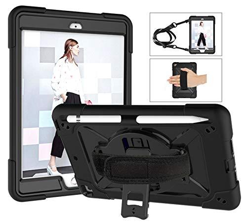 SZCINSEN Robot de contraste de color 3 en uno anticaídas, adecuado para iPad mini1/2/3 funda de tableta, soporte giratorio de mango multifunción [correa para el hombro] (color negro y negro)