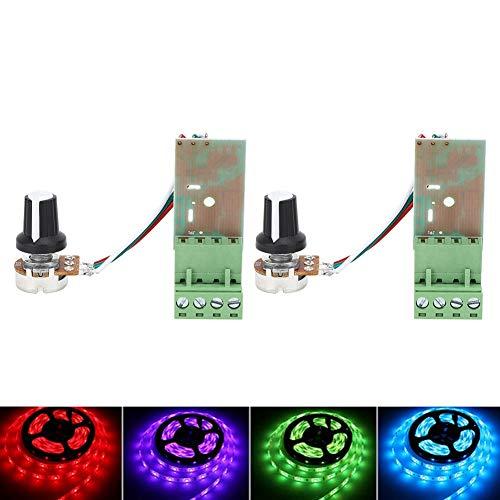 Cafopgrill 2 stuks LED-dimmer, dimmer, schakelaar, controller, dimmer, handmatig, knop, dimmer, helderheid, lichtschakelaar, 15 A, 12-24 V