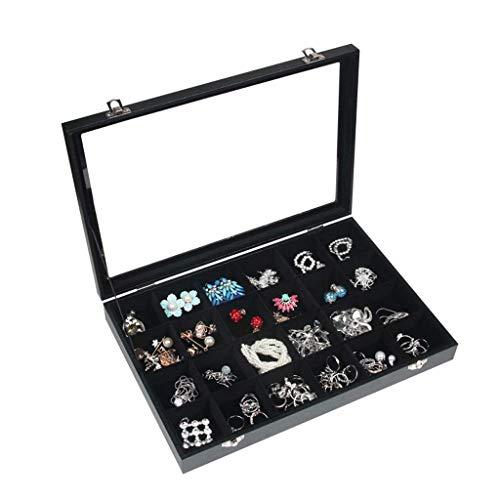 POLX 24 ranuras de almacenamiento de anillos de almacenamiento de joyas caja soporte de almacenamiento de joyas (color : terciopelo negro, tamaño: 35 x 24 x 5 cm)
