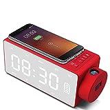 HBOY Reloj de Carga, Proyección de Carga inalámbrica Reloj Digital Altavoz Bluetooth LED Pantalla Grande Reloj Despertador Snooze FM Relojes de música DIY,Rojo