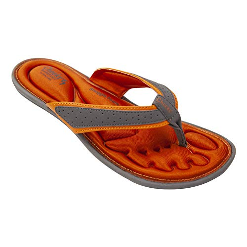 CHEEKS Barefoot Snuggle Foam Sandals by Tony Little, America's Personal Trainer - Low Impact Snuggle Foam Footbed, Super Light Weight and Memory Foam Arch Support - Grey/Orange - Size 8