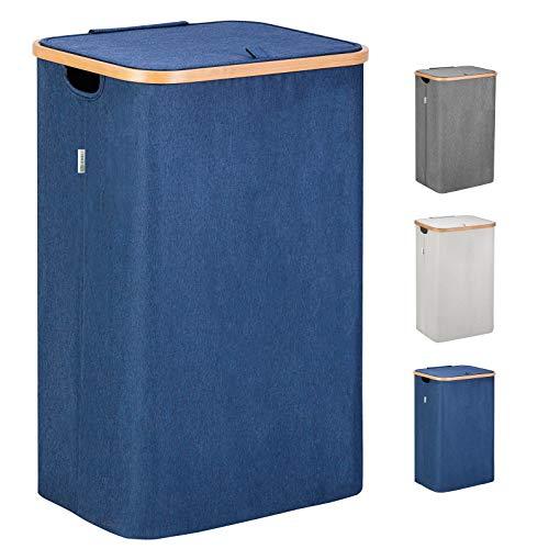 Lonbet® - Wäschekorb mit Deckel Groß - XXL 100 Liter - Wäschekorb Holz Bambus - Wäschesammler Blau mit Griffen - Blue Laundry Basket - Laundry Hamper with Lid