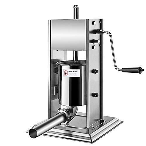 EINFEBEN Wurstfüllmaschine aus Edelstahl (3 Liter, Silber), Profi Wurstpresse mit vier verschiedene Füllrohre, Vertikal Wurstpresse, Wurstmaschine mit 2-Gang-Getriebe und Handkurbel