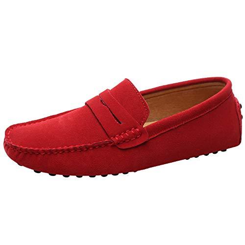 Jamron Uomo Pelle Scamosciata Penny Mocassini Comfort Scarpe da Guida Pantofole Rosso S2088 EU44