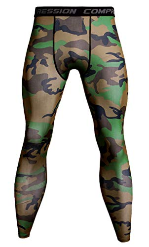 Men's Dry Fit Compression Pants Baselayer Sports Tights Yoga Running Training Leggings, Camouflage# Army Green, US X-Small = Tag M