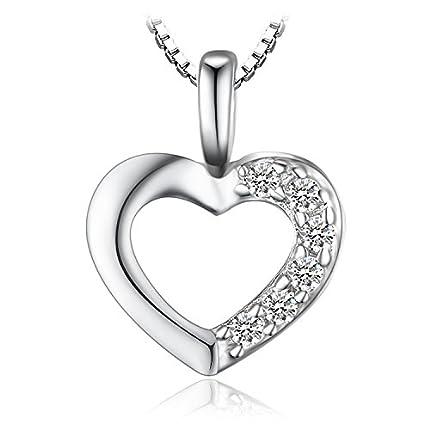 JewelryPalace Colgante Circonita en forma de Corazón Collar Plata de ley 925 cadena de caja 43cm