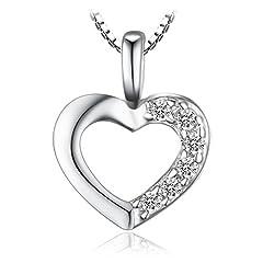 Idea Regalo - JewelryPalace 0.06ct Cubic Zirconia Amore Cuore Ciondolo Collana Pendente 925 Argento Sterling Catena 43cm