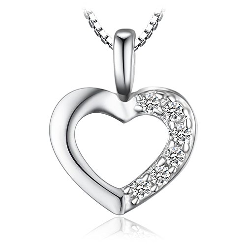 JewelryPalace Liebe Herz Prinzessin Damen Kubik Zirkonia Verlobung Hochzeit Anhänger Halskette Mit 43 Cm Box Kette 925 Sterling Silber
