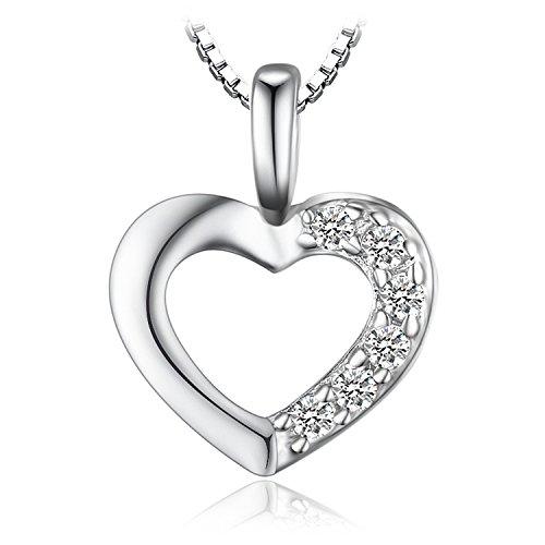 JewelryPalace 0.06ct Cubic Zirconia Amore Cuore Ciondolo Collana Pendente 925 Argento Sterling Catena 45cm
