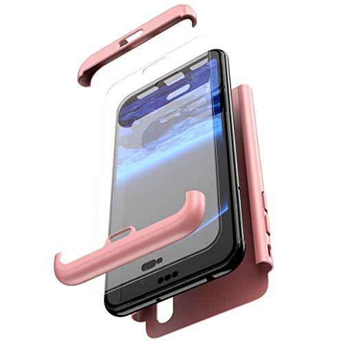 Coque Huawei P30 Lite Intégral 360 Degrés Full Body Coque + Verre trempé Film de Protection,PC Rigide Coque Hybride Robuste Coque 3 in 1 Exact Fit Avant et Arrière Etui pour Huawei P30 Lite,Rose Gold