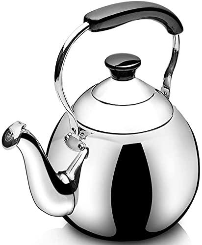 Hervidor superior de la estufa para gas, tetera de tetera de silbidos con acabado anti-hot guante y espejo, tetera de cuarto de galón estufa de tetera superior tetero ( Color : Silver , Size : 4L )