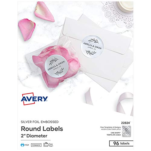 Avery Embossed 2 Inch Round Labels for Inkjet Printers Only, 96 Matte Silver Labels (22824)