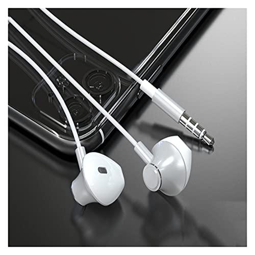 Binn Auriculares de Música Auriculares con Cable de 3,5 mm Auriculares estéreo micrófono en Oreja compatibles con teléfonos móviles Computadoras Tabletas Headphones (Color : White)