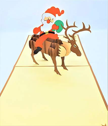 BC Worldwide Ltd Tarjeta de Navidad emergente 3D hecha a mano Feliz Navidad Papá Noel Reno entrega de regalo Saludos de origami vintage Adorno de regalo Decoraciones