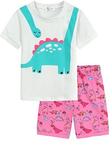 EULLA Conjunto de pijama de manga corta para nias, diseo de dinosaurio, panda de dinosaurio, ropa de dormir de algodn, para nios pequeos, de verano, 2 piezas, para regalo de 1 a 7 aos