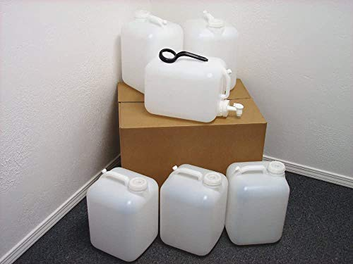 5 Gallon Carboy, 6 Pack (30 Gallons), Emergency Water Storage Kit - New - Boxed - Includes 1 Spigot