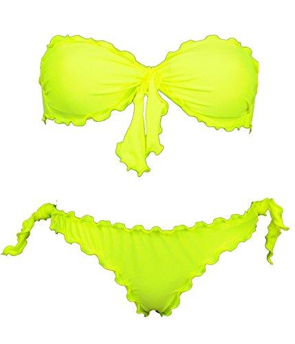 Bikinicolors Bikini para Mujer con Banda Fruncida con Slip o brasileño Made in Italy (M 44 con Bras (Top 44 - Bras M), Amarillo Fluorescente