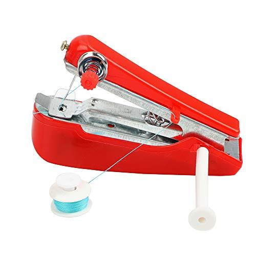 NOPNOG Mini máquina de coser portátil manual pequeña herramienta de bordado para viajes domésticos, color aleatorio