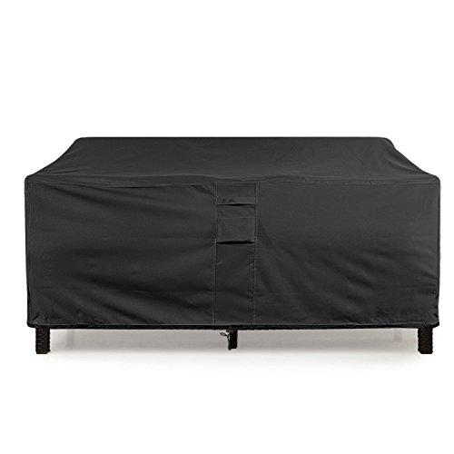 "KHOMO GEAR Large-Black GER-1080 Waterproof Heavy Duty Outdoor Lounge Loveseat Sofa Patio Cover, (88'' x 32.5'' x 33"") -  loveseat-Large-black"