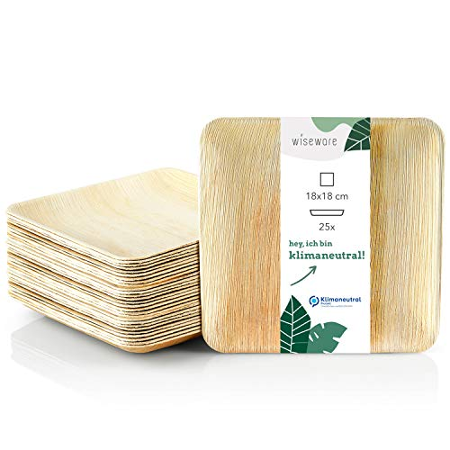 Wiseware Assiettes en feuille de palmier – 25 assiettes jetables carrées 18 x 18 cm – Vaisselle en feuille de palmier biodégradable – Vaisselle de fête jetable bio (25, 18 x 18 cm)