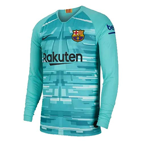 NIKE FC Barcelona Keepersshirt Shirt, Hyper Jade/Negro, S Unisex-Child