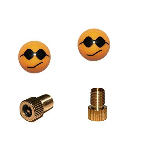 KUSTOM66 2er Set Ventilkappen und 2 Fahrrad Adapter - Smiley mit Sonnenbrille - in gelb für jedes Fahrrad geeignet