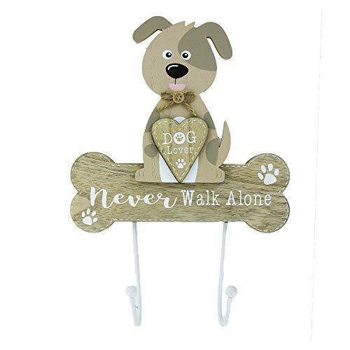 Gancho de plomo para perro, doble gancho montado en la pared, nunca caminar solo, regalo para el amante del perro