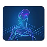 SYMSPAD Headset Man Wearing Virtual Reality Glasses Abstract Vr World Mouse Pad 8.6 X 7.1 in