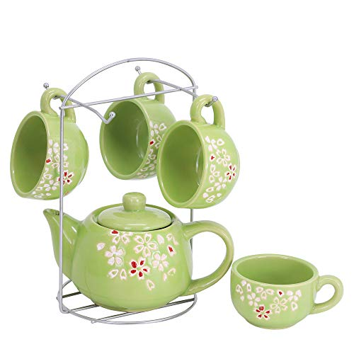 ufengke 6 Pieces Plum Blossom Ceramic Tea Set for Adults,Kids,Childrens Tea Sets,Small Floral Coffee Tea Set,Green