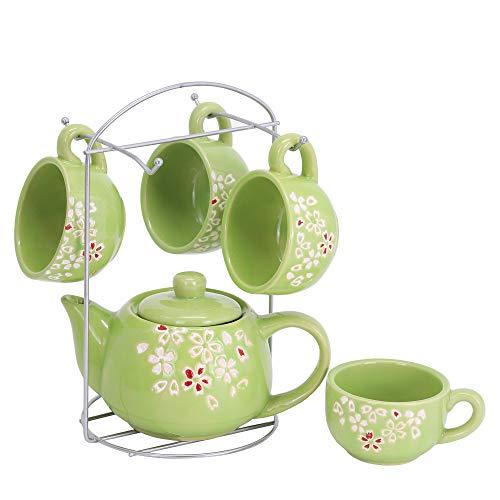 ufengke 6 Pezzi Set da tè in Ceramica con Motivo Fiore di Prugna, Tazzine da caffè Floreale in Piccola capacità, Servizio da tè per Bambini, Verde
