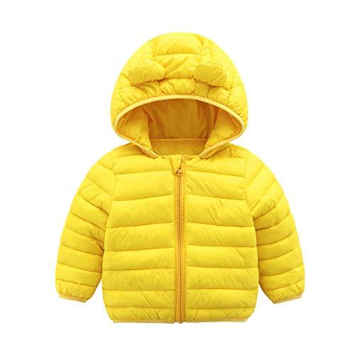 CECORC Wintermäntel für Kinder, mit Kapuze (gepolstert) Leichte Steppjacke für Babys, Jungen, Mädchen, Säuglinge, Kleinkinder , Gelb, 3 Jahren