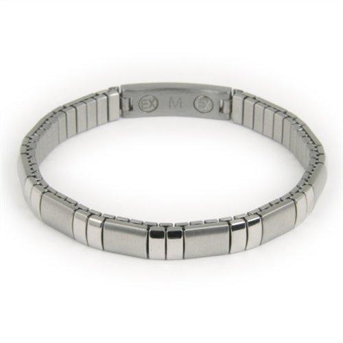 Energetix - Edelstahl Flexi-Armband, poliert, gebürstet, gravierbar, antiallergen, Breite 5 mm, Grössen L, 2 Neodym-Magnete, Nr. 183L