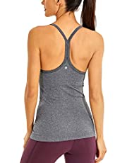 CRZ YOGA Seamless Workout Tank Tops for Women Racerback Athletic Camisole Sports Shirts with Built in Bra