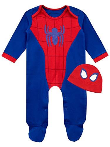 Marvel Set di Tutina da Notte e Cappellino per Bambino Spiderman Blu 0-3 Mesi