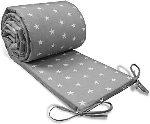 Bettumrandung Nestchen Babybett 70x140, 60x120 umrandungen - babybettumrandung Bettnestchen für Kinderbett Beistellbett Gitterbett 210x30 cm Grau