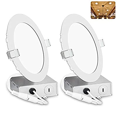 6 Inch LED Recessed Lighting with Junction Box, Smooth Trim, 2 Pack, 12W= 100W, 3000K Warm White, 850LM Dimmable Downlight, Canless Lighting for Shallow Ceiling, Energy Star & ETL Certified