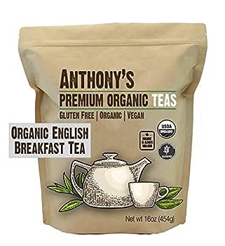 Anthony s Organic English Breakfast Loose Leaf Tea 1 lb Gluten Free Non GMO Non Irradiated Keto Friendly