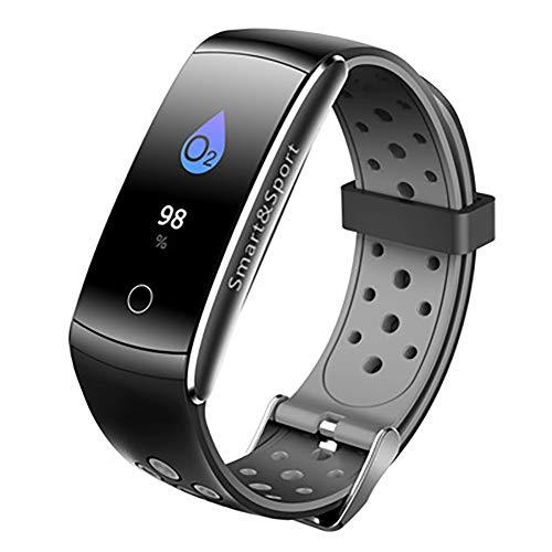 PAGHY Fitness Tracker 0.96 Pantalla a Color Smartwatch Bluetooth IP68 Impermeable Reloj de Fitness Monitor de Sueño GPS Contador de Calorías Podómetro Cronómetro para Niños Hombres Mujeres Gris
