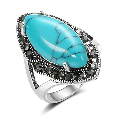 Tiny Anillos Vintage de Piedra Natural para Mujer, Simples Piedras Azules Grandes con Incrustaciones de Diamantes de imitación, joyería étnica Bohemia, Anillos de Plata tibetana