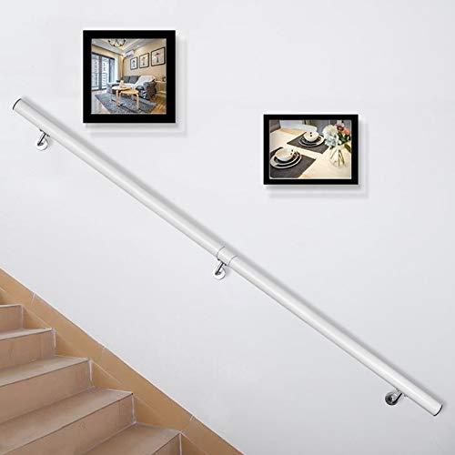 VEVOR Pasamanos Escalera 152 cm, Barandilla Escalera 152 cm, Pasamanos para Escaleras, Pasamanos de Pared, Montaje en Pared, de Aluminio, Color Blanco, para Escaleras Interiores y Exteriores, Loft