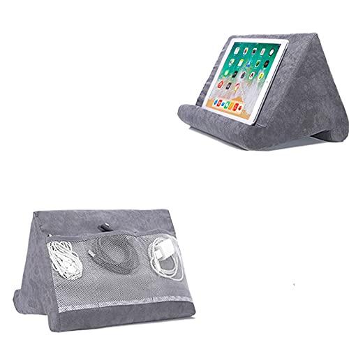 Soporte suave para tableta con bolsillo de red, soporte de cojín para tableta, ángulo de visión ajustable, soporte para sofá de cama, compatible con iPad, tabletas, eReaders, smartphones, color gris