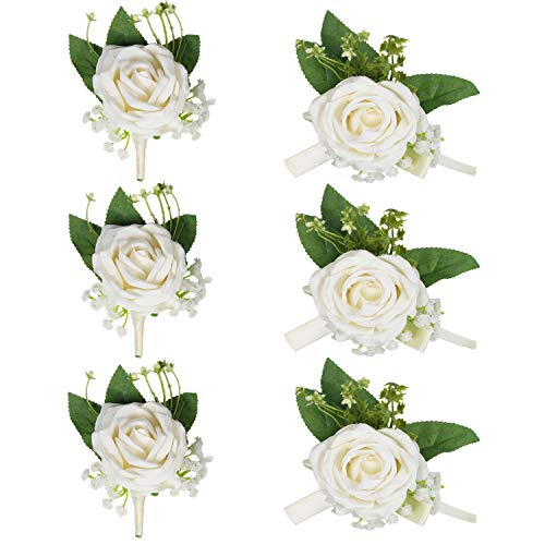HEBE 6 Pcs Corsage and Boutonniere Set White Silk Rose Flower Wrist Corsage Boutonniere Buttonholes Sets for Girl Bridal Bridesmaid Groom Bestman Wedding Prom Party