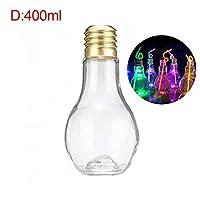 夏電球水ボトルガラス革新的なドリンクジュースミルクボトル漏れ防止飲料のための Diy のドリンク装飾-400ml with Light