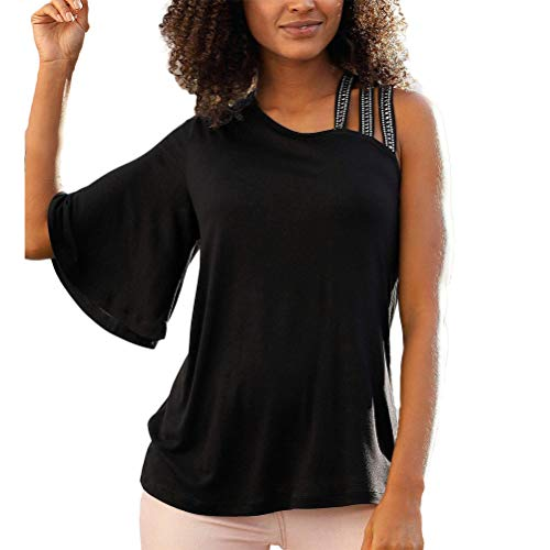 Tops Moda Mujer Elegante 2020 Estilo Clásico Sparkle Hombro Correa Empalme Irregular Manga Única Tops Bolsa Camisa Chicos (Color : Negro, Size : XL)