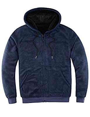 ZENTHACE Mens Sherpa Lined Full Zip Up Hoodies for Men Sweatshirt Jacket(Sherpa Lining Throughout) Navy L