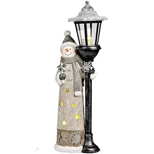 Formano Dekofigur Schneemann aus Kunststein mit Laterne und LED, 18x48cm, Creme, Silber, schwarz, 1 Stück