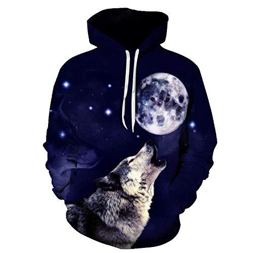 YCHY 3D La Nuit de la Pleine Lune Wolf Impression Hoodie Animal Sweats à Capuche Manches Longues avec Poche Printemps Automne pour Hommes et Femmes,2XL